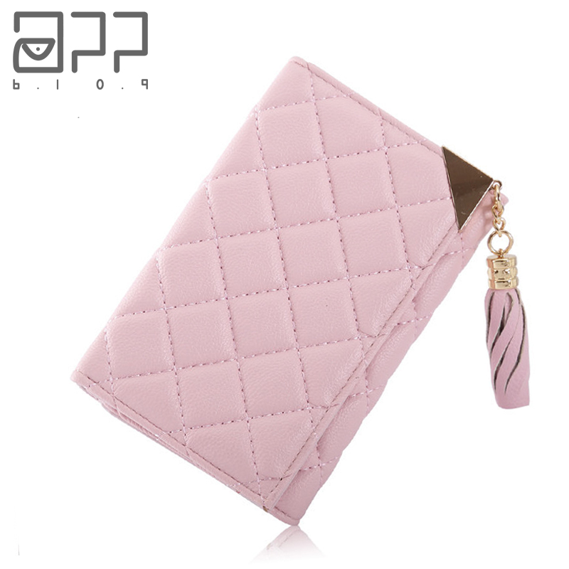 APP BLOG Brand Women Lingge Wallet Latest High Capacity Leather Buckle Clutch Tirfold Tassel Soft Purse Carteira Feminina Mujer вешала e blog led