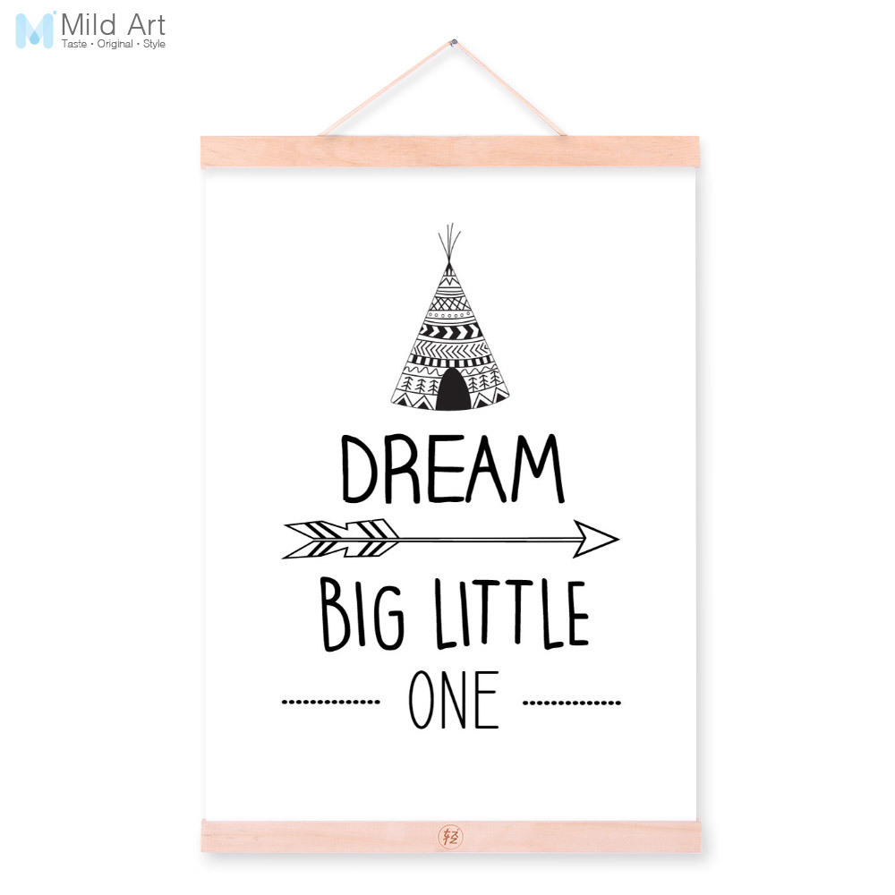 Preto e Branco Sonho Cotações Tipografia De Madeira Emoldurado Pintura Da Lona Crianças Quarto de Bebê Decor Wall Art Pictures Cópia do Cartaz de Rolagem