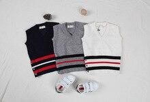 Baby boys girls TB knitted striped vests waistcoats kids rabbit wool core sweater weskit Children fashion wear for all seasons