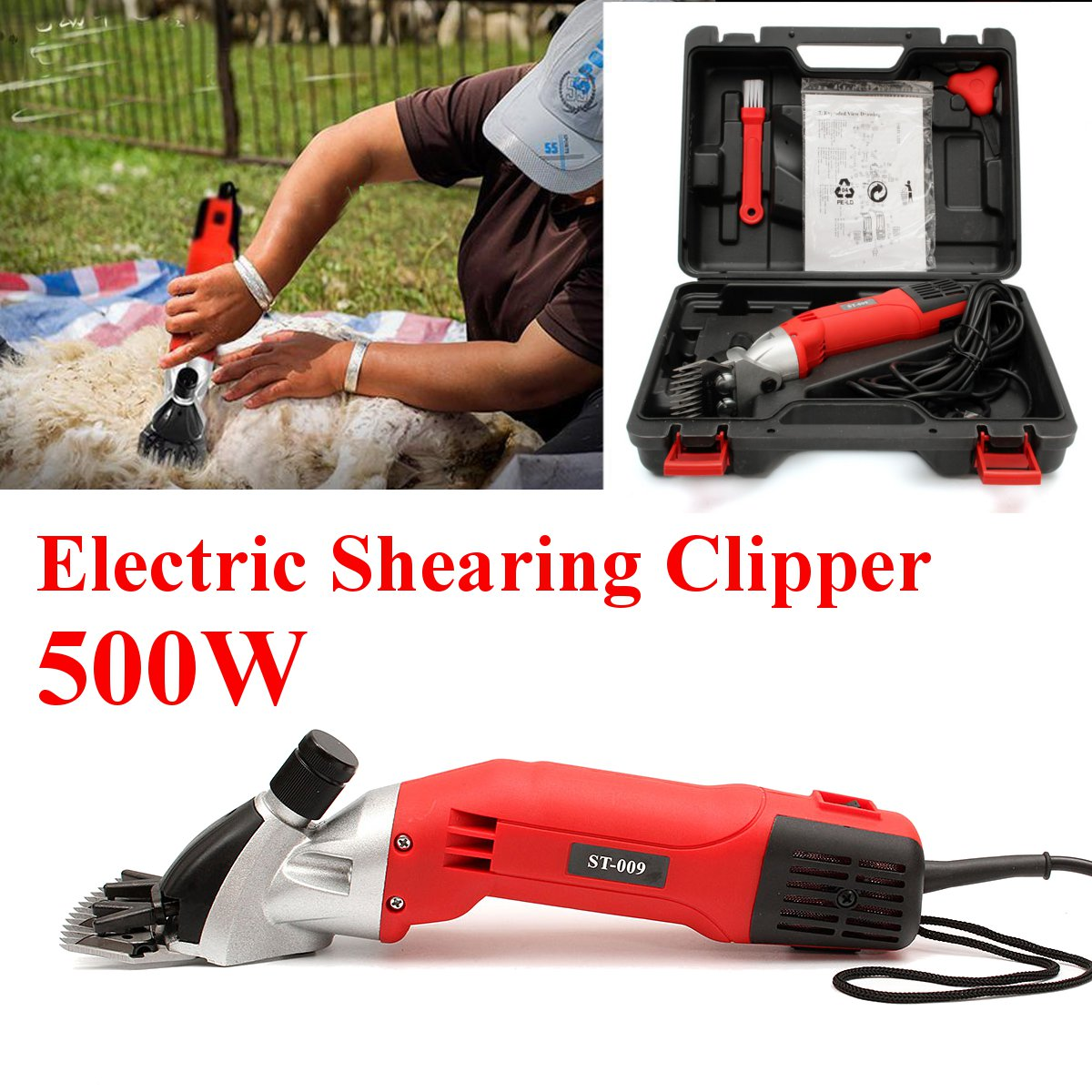 500W 220V Electric Sheep Goats Shearing Clipper Shear Alpaca Farm Shear With Box