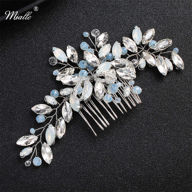 Miallo Newest Blue Opal Crystal Bridal Hair Combs Clips Wedding Hair Accessories Jewelry Fashion Headpiece