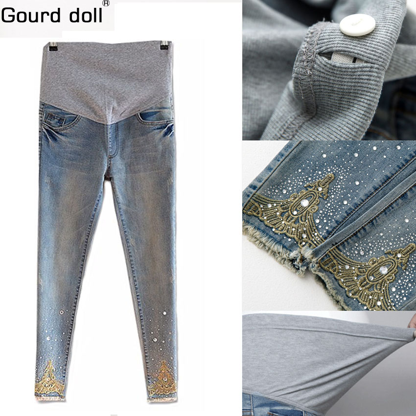 Mom denim overall trousers grossesse maternity Jeans Pregnant pencil Prop Pants Clothing For pregnant women plus size embarazada artka women jeans with embroidery vintage trousers women 2018 skinny jeans denim pencil pants plus size elastic jeans kn12621d