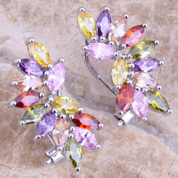 Pendientes multicolores agradables púrpura circonita cúbica plata 925 Clip Huggie para mujeres S0234