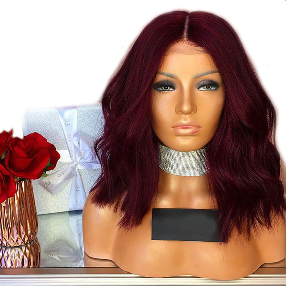 Aimoonsa Wig Short Human-Hair Burgundy Lace-Front Bob Red with Deep-Part 13--6 Remy Colored-99j