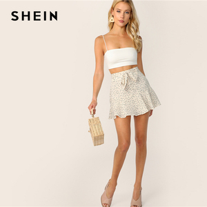 Image 5 - SHEIN Solid Crop Cami Top Women Sleeveless Spaghetti Strap Vest Sexy Basics Stretchy White Slim Fit Summer Cami Tops