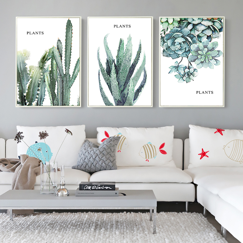 Modern Simple Green Thick Plant Leaf Landscape Canvas Painting Poster Wall Art Home Picture Decoration