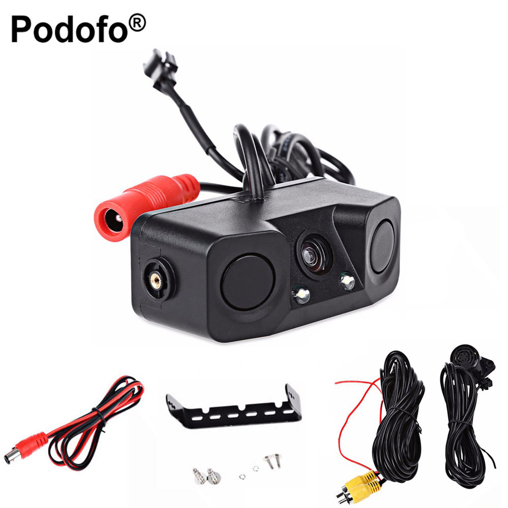Podofo 2 in 1 Sound Alarm Parking Assistant System Radar Detector Sensor Car Reverse Backup LED Rear View Camera Night Vision цены