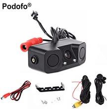 Podofo 2 в 1 звуковая сигнализация парковочный помощник Система радар-детектор датчик автомобиля обратный резервсветодио дный светодиодный заднего вида камера ночного видения