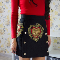 Runway Designer Vintage Jacquard Mini Skirts 2018 Autumn Women Black Embroidery Floral Double Breasted A Line High waist Skirt