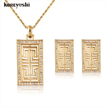 Turkish jewelry Brands 18k plated Hollow Square Rhinestone jewelry sets fine jewelry wedding accessories Necklace Earring bijoux