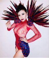 Glisten Red Blue Rhinestone Leotard Costume Feather Shoulder Party Women Bodysuit Nightclub Bar Costumes Female Singer Outfit