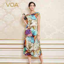VOA 2017 Summer Chinese Style Butterfly Slim Print Dress Plus Size Sleeveless Bohemian Silk Jacquard A-line Women Dresses A2268