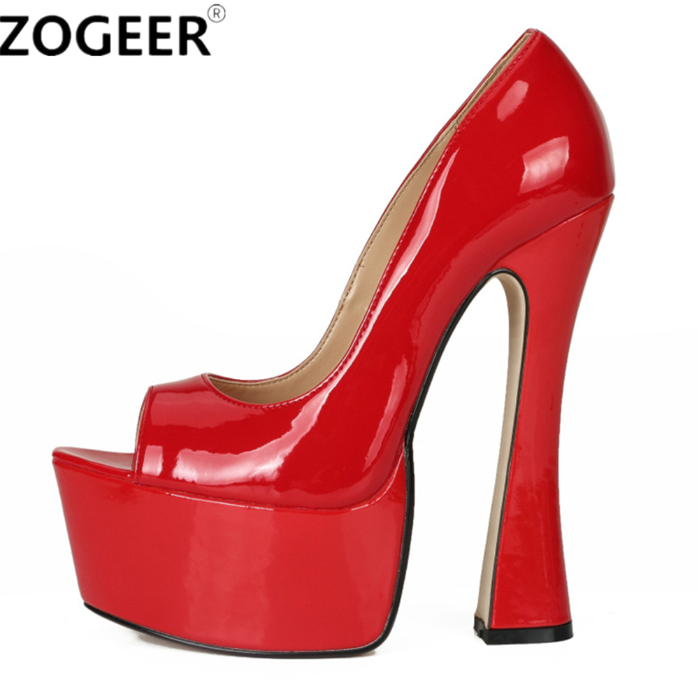 Plus Size 48 Fashion Women Pumps Peep Toe Height Platform Extreme High Heels Shoes 16CM Sexy