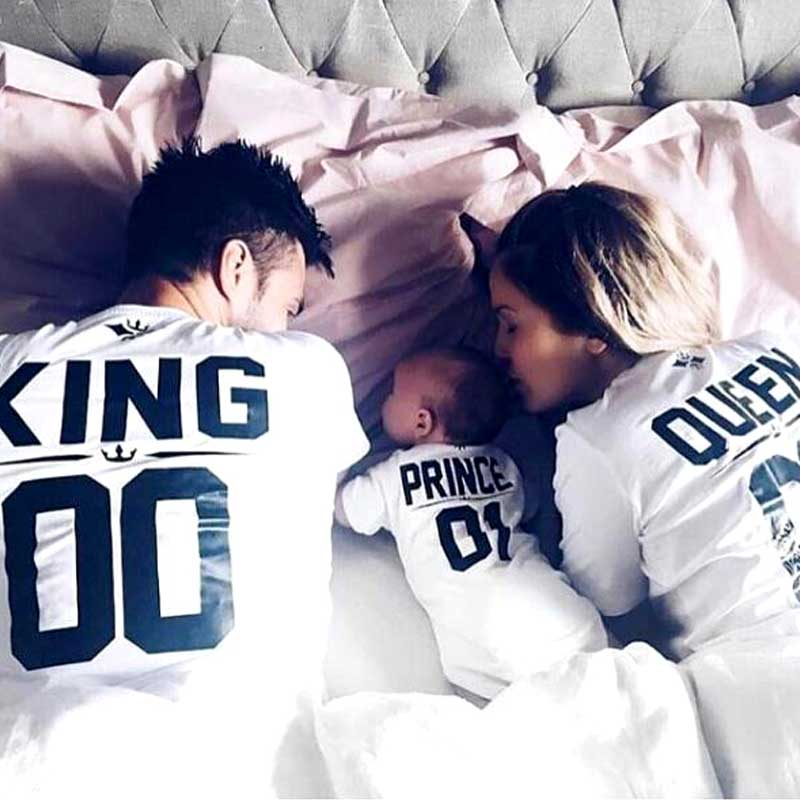 2e6c8a6597 Family Look Short sleeved T-shirt father Son mother and daughter clothes 01  King Queen Princess ...