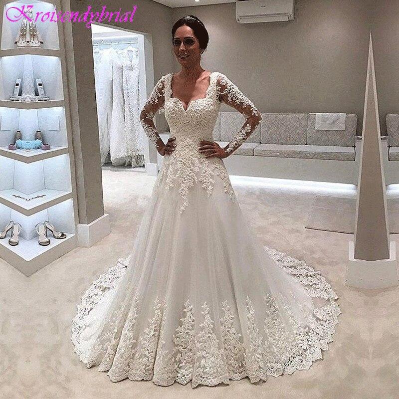 DZW074 Long Sleeve A Line Wedding Dresses Lace Appliques Elegant Bride Dresses wedding gown Chapel train