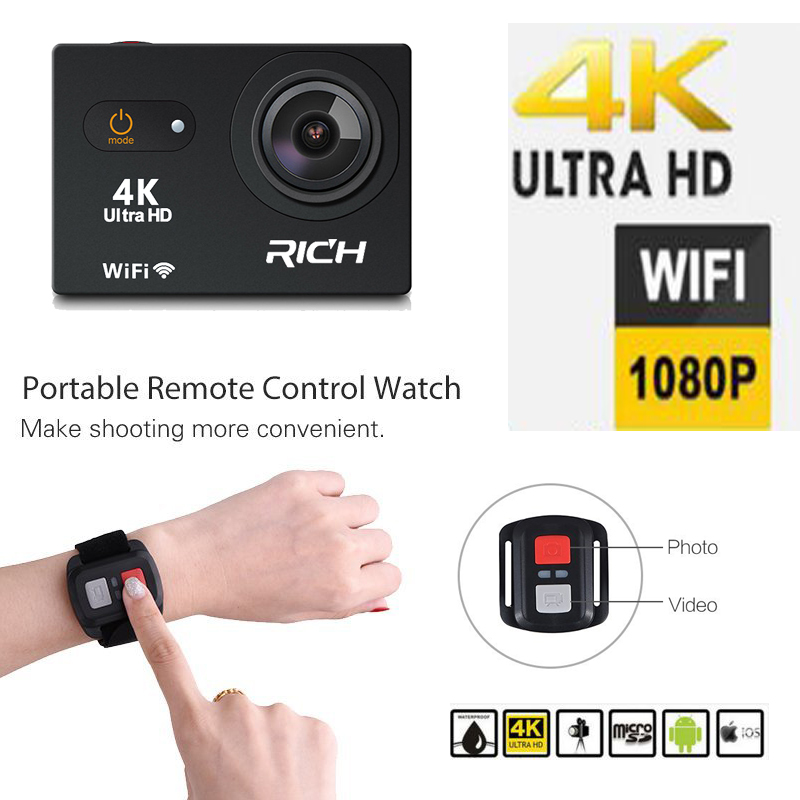 RICH 4K Ultra HD 2.0LCD Tough Screen Action Camera 170 Degree EIS sport Camera extreme waterproof sport cam Wifi Black f88 action camera black