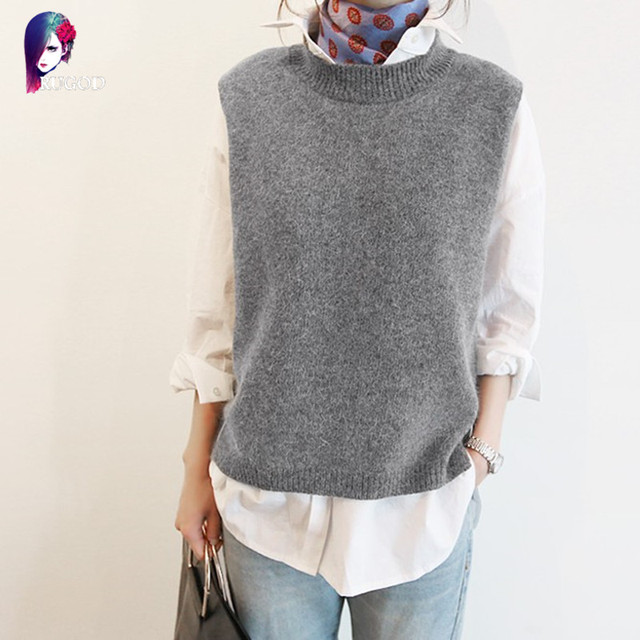 2017 Spring Autumn Wool Vest Women Sleeveless O-Neck Knitted Vests Long Sections Poullover Vest Female Solid Jumper pull femme