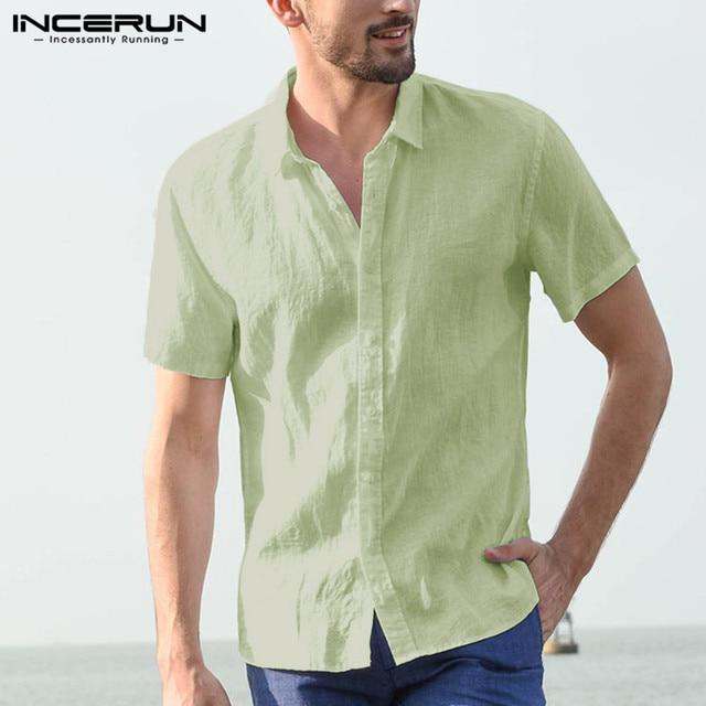 INCERUN Elegant S-5XL Male Tee Tops Casual Shirts Men Social Shirts Dress Button Turn Down Collar Slim Fit Men Clothes Camisa 5