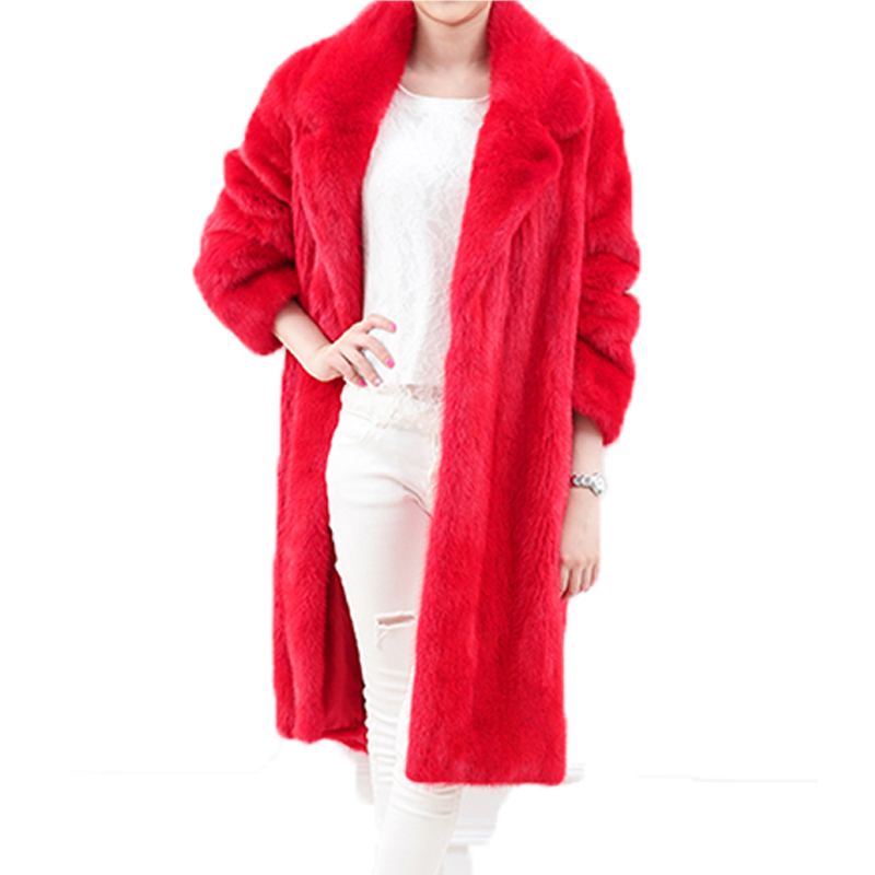 Autunno Lungo Pelliccia Donne Allentato Down Mink Coat Turn White Lady red Femminile Fur Cappotto Qualità St019 grey Di Collare Faux Inverno Cappotti Alta Sottile Zvaqs Oxxdq4