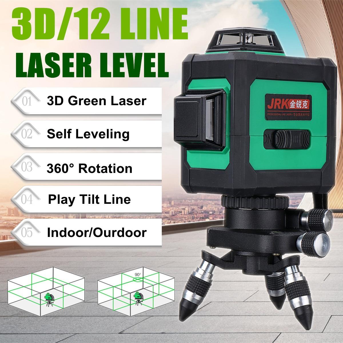 3D наливные 360 Поворотный крест зеленый лазерный уровень измерения 12 линий 50 раз широкий применение для выравнивания Точная мобильность