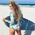 2016 Womens Digital Print Long-sleeved High Waist Cut Out Triangle Bikini Set Swimwear Swimsuit Brazilian Summer Beach Suit XL