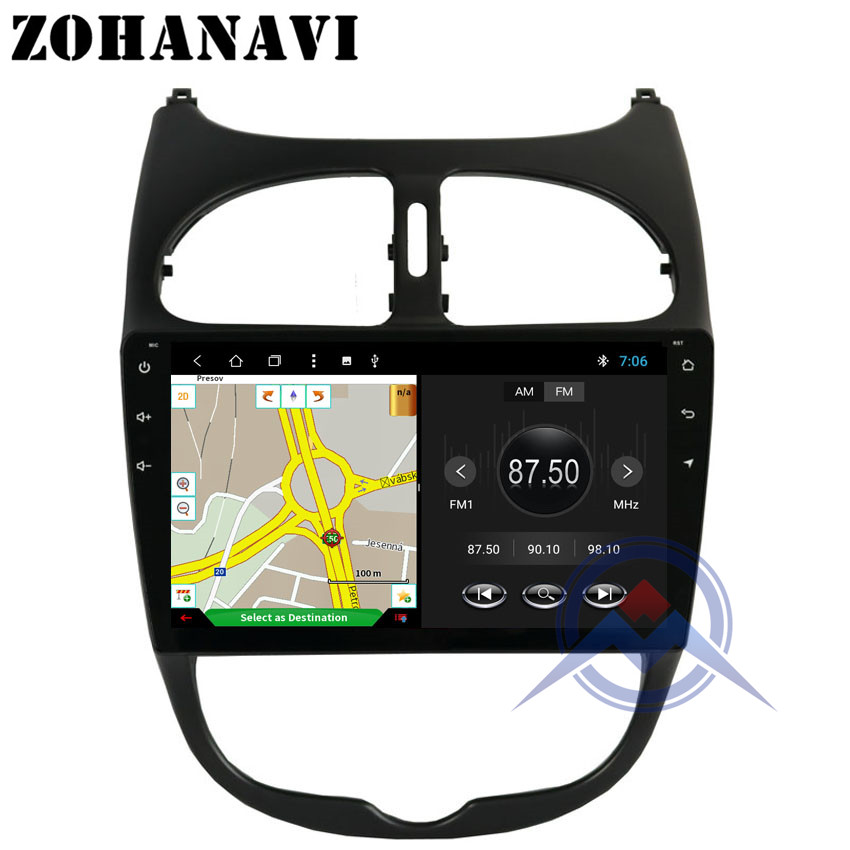 ZOHANAVI 9inch Android Octacore car stereo GPS for Peugeot 206 car Multimedia radio player 2001 2002