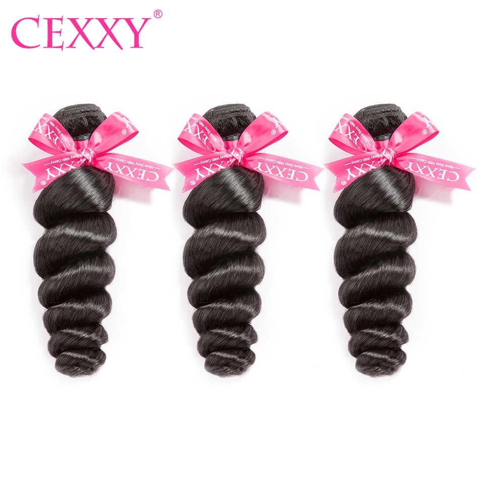 CEXXY 3 wiązki/dużo ludzkie włosy wiązki malezyjskie włosy naturalne luźne fala nieprzetworzone włosy wyplata naturalny kolor bezpłatna wysyłka