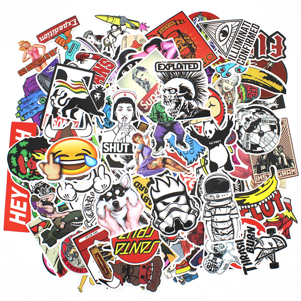 Image 5 - 200 PCS Random Vinyl Skateboard Travel Case Helmet Sticker Decal ATV Motorcycle Car Stickers Fashion Rossi Funny Sticker Bomb-in Decals & Stickers from Automobiles & Motorcycles