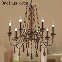 French garden logs chandeliers living room dining room bedroom American Creative wooden beads retro Chandelier free shipping