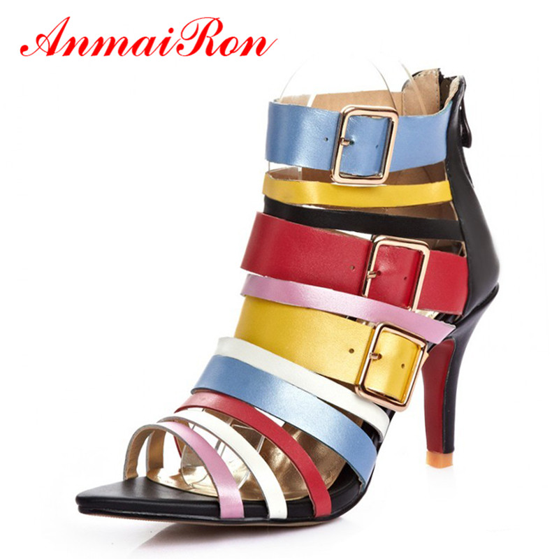 ФОТО ANMAIRON Summer Gladiator High Heels Platform Sandals Fashion Boots Shoes Women Ladies Dress Party Shoes Woman Dance Ankle Boots