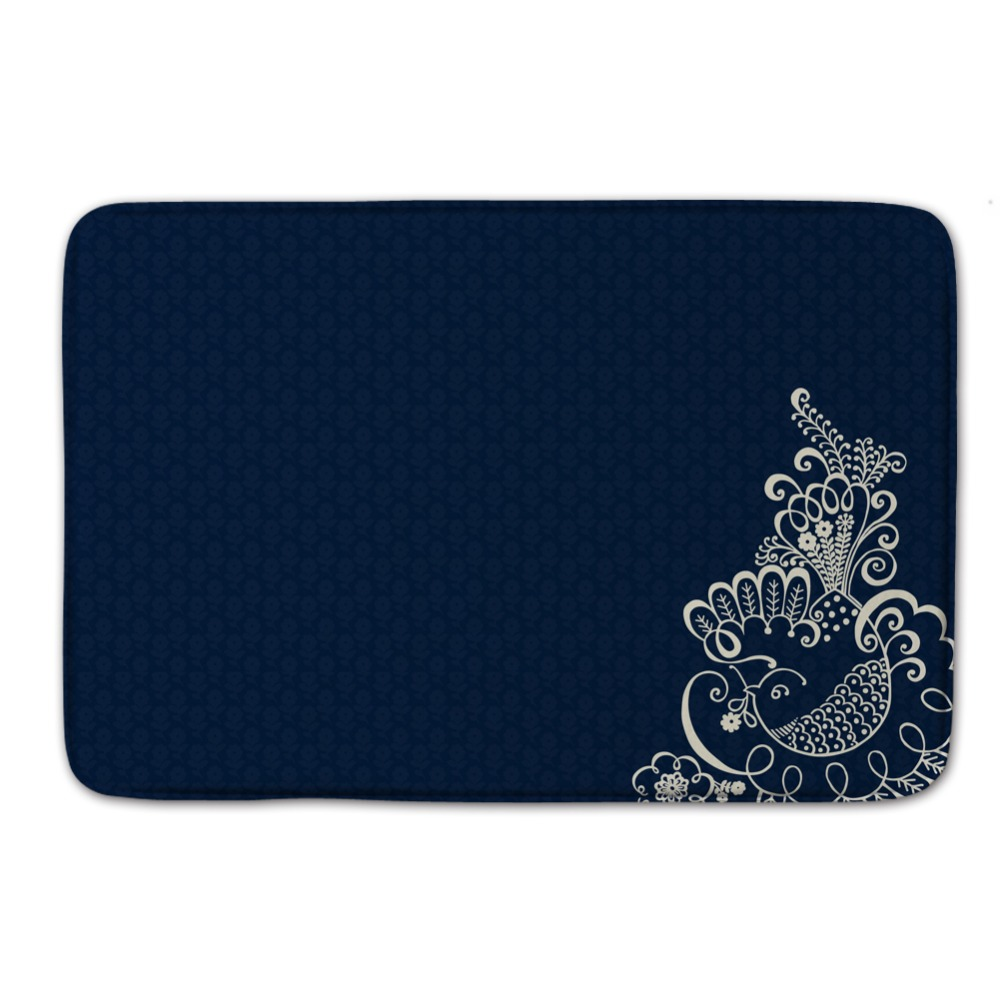 Peacock bathroom rug - A Peacock In His Pride And Blue Background Pattern Waterproof Entrance Door Mat Coral Non