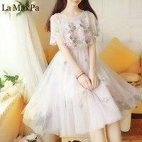 La MaxPa Mori Girl Sweet Dress 2018 New Summer Women Flower Ball Gown Mesh Ruffled embroidered mini Dresses