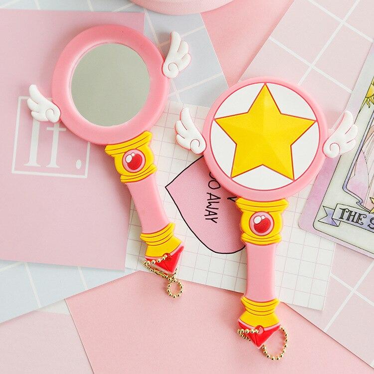 Magic Card Girl Sakura Star Cane Makeup Mirror Variable Small Sakura Portable Mirror  COS Cardcaptor Sakura