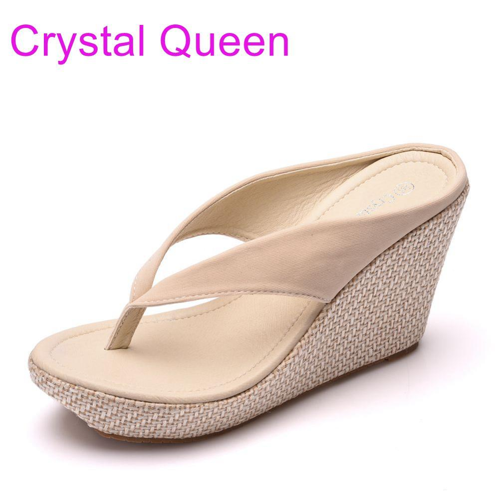 Crystal Queen Summer Bohemia Platform Wedges Sandals Slippers Flip Flops Wedges Heels Flip Flops Sandalias Plataforma Blancas Platform Slippers Sandals Slippersheel Flip Flop Aliexpress