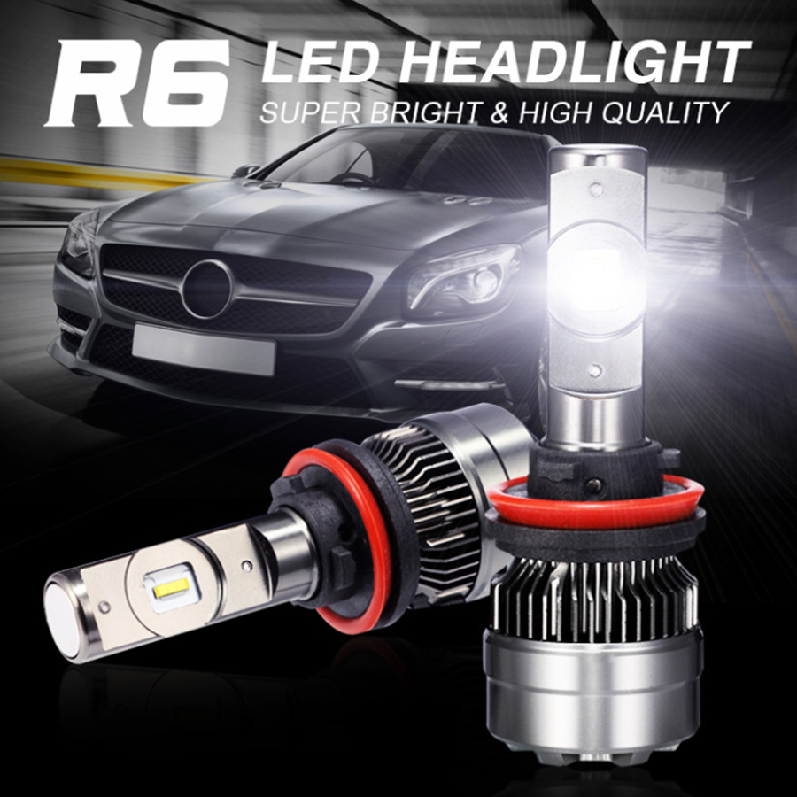 Universal R6 H1 H3 H4 H7 H11 9004 9005 LED 70W CSP 8400LM Car Hi/Lo Beam Headlight Bulbs 6000K Auto Fog Light Headlamp 12/24V DC