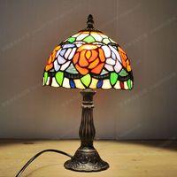 Бесплатная Доставка Американский Европейский стиль пион роза Малый лампа Тиффани стекла лампы записи детская спальня ден бар Освещение