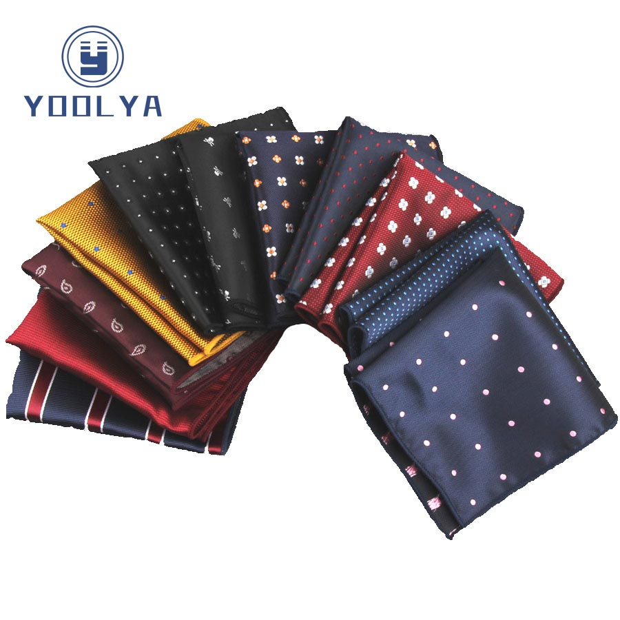 15 Patterns Men's Silk Handkerchief Stripe Paisly Dots Rolled Edged Pocket Square 22cm Wedding Business Party Chest Towel Hanky