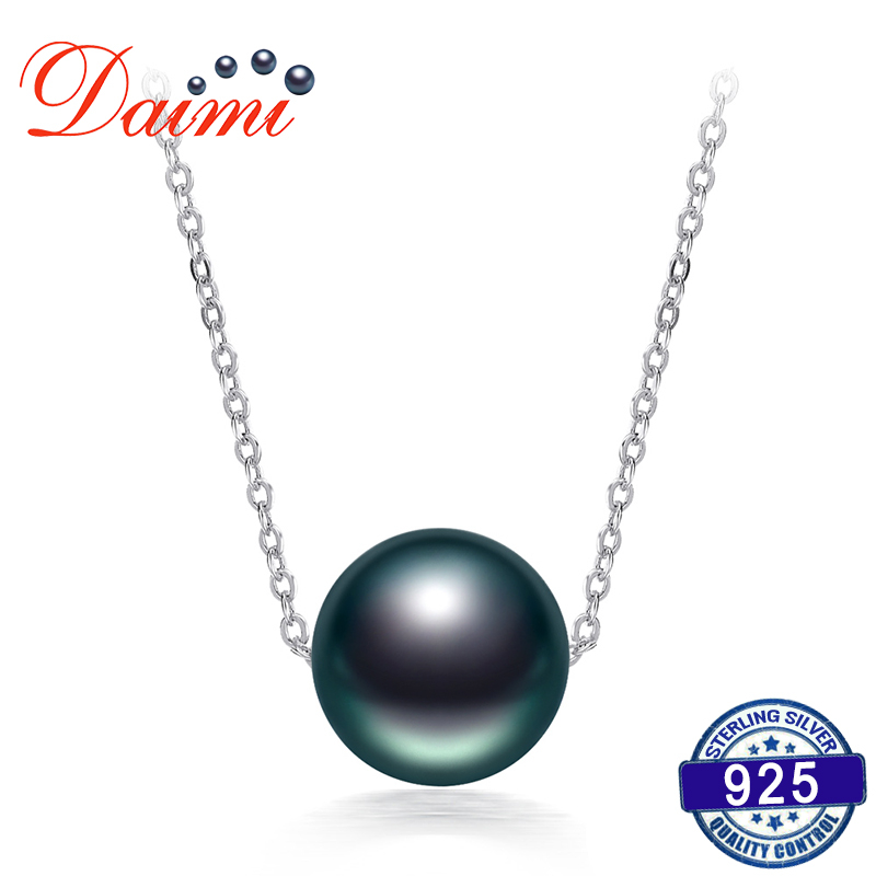 DAIMI On Sale 10 11mm Black Tahitian Pearl Necklace 925 Silver Chain Necklace Single Pearl Pendant