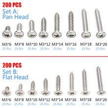 купить 200pcs M3 Stainless Steel Pan Flat Head Screws Kits High strength Self-Tapping Screws Assortment Set For Wood Furniture по цене 278.11 рублей