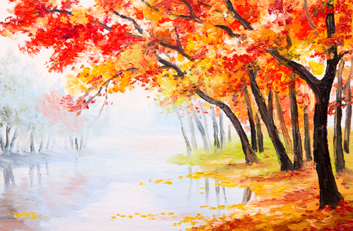 4X6ft(1.25x2m) Digital Printing oil painting photo backdrop background autumn leaves printed ...