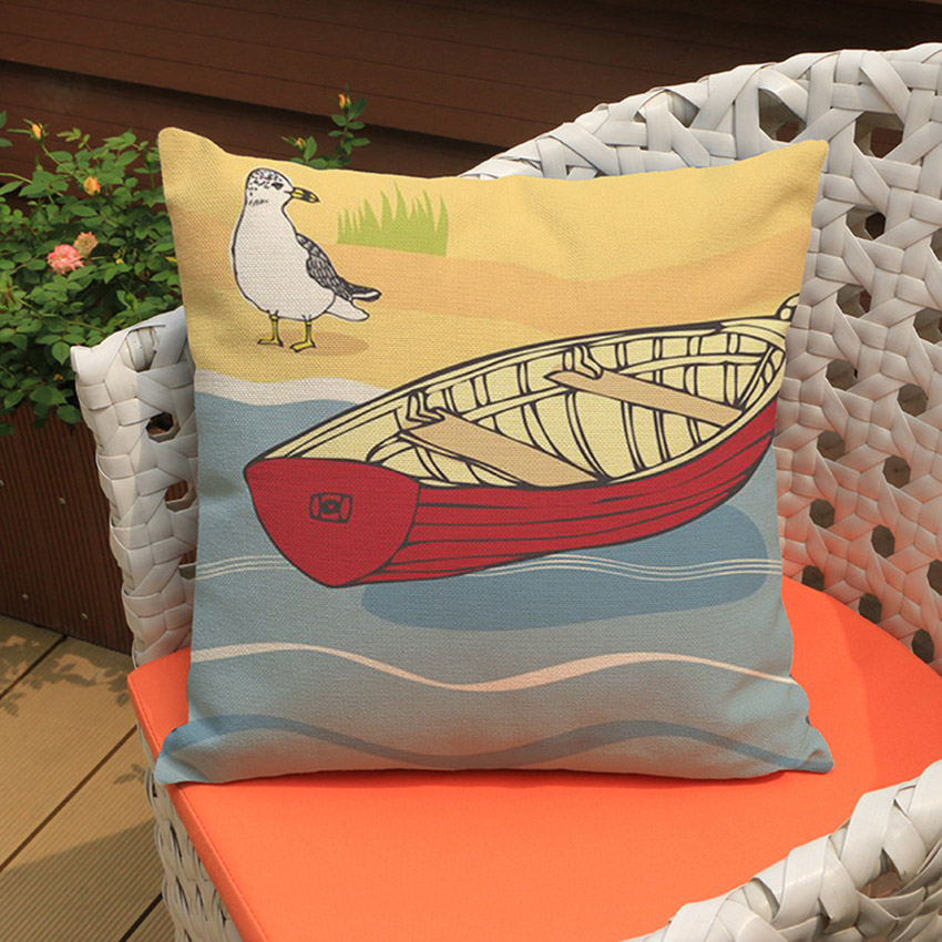 Summer Beach Cushion Cover Hawaii Style Hand Painting Decorative Pillows Home Decor Sofa ...