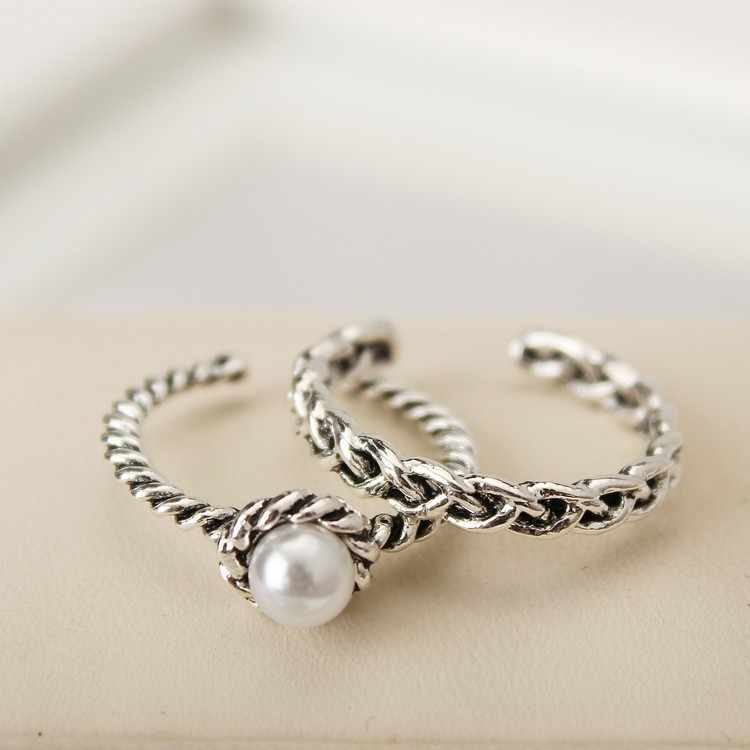 Knock 2PCS/set Vintage Antique Silver Twisted Woven Inset Imitation Pearl Opening Rings Sets For Girl Simple Rings