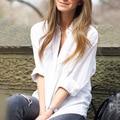 2016 nova primavera ladies tops branco namorado solto camisas de manga longa blusas femininas de moda casuais camisas camisa feminina 659