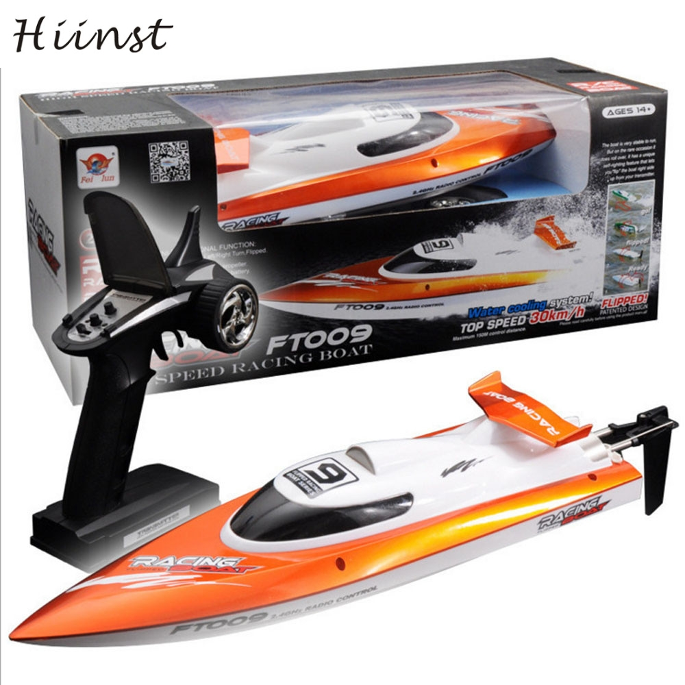 HIINST colors Hot Feilun FT009 2.4GHz 4 Channel Water Cooling High Speed Racing RC Boat Gift FT009 remote control airship P30