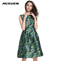 AOXUER Summer New Jacquard Vintage Floral Print Dress Women Sexy Sleeveless Office Fashion Casual Dresses Vestidos