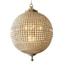 Большая Хрустальная медная круглая люстра античная латунь винтажная бронзовая люстра в виде шара 8 световых глобусов Висячие российские светильники