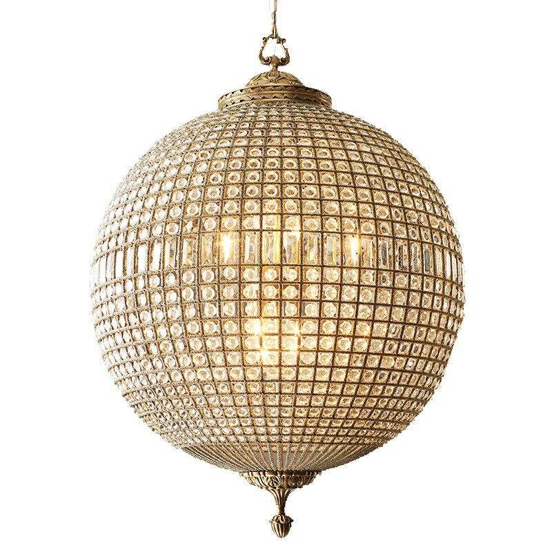 Большая Хрустальная медная круглая люстра античная латунь винтажная бронзовая люстра в виде шара 8 светильник Глобус висячие светильники д