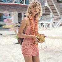 新しいかぎ針編みビキニカバーアップ女性手作りスモック中空アウトビーチドレス短い休暇ユニークなドレスホルターカバーアップ綿