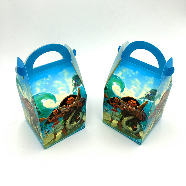 6pcs Lot Moana Hand Bags Candy Boxes Kids Birthday Gift Paper Happy Party Decoration Case