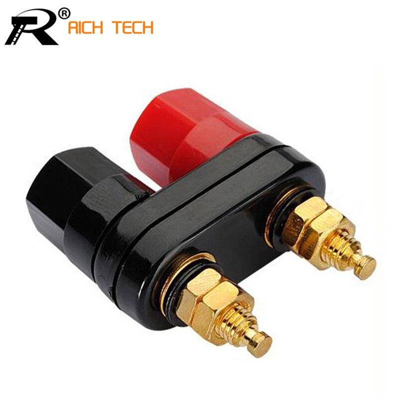 Lot*6 Brass Speaker Binding Post Audio Terminal Banana Plug Jack 2 Black,4 Red
